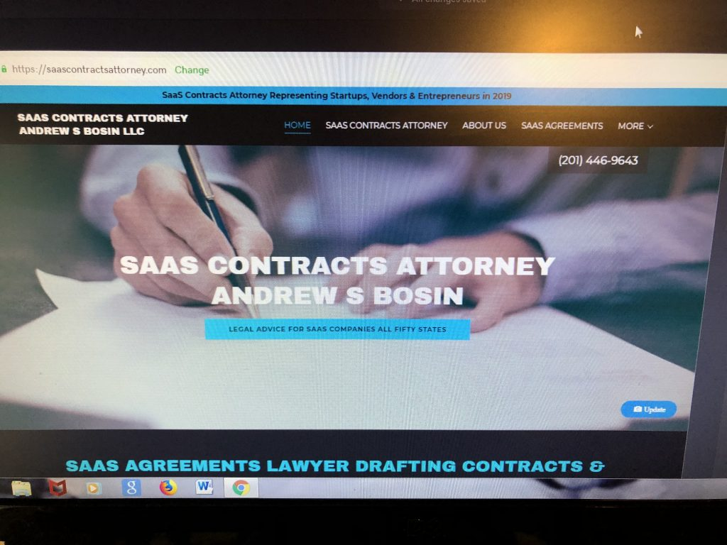 SaaS Contracts Attorney charging flat rate price fixed legal fees packages and reviewing and negotiating SaaS Agreements, SaaS Contracts, SaaS End User License Agreements (EULA), SaaS Master Service Agreements (MSA), SaaS Reseller Agreements, SaaS Subscription Agreements and Enterprise Customer Agreements Andrew S Bosin LLC who is located in New Jersey near New York City counsels SaaS and software startups, entrepreneurs, companies, vendors,  startups, licensees, enterprise businesses, resellers and customers in all fifty states across US | andrewbosin@gmail.com | 201-446-9643.